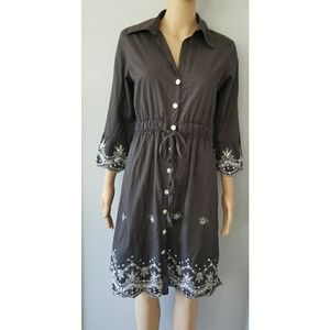 DIMRI Brown Sequin button down Below knee dress